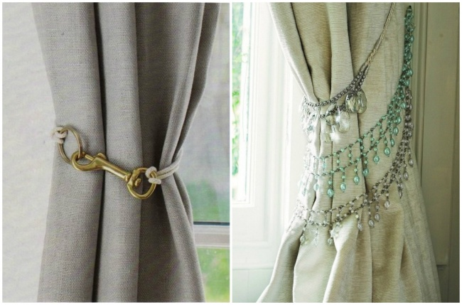 cortinas adornadas con collares